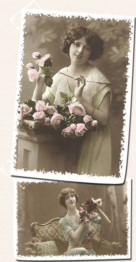 Two photographs of women with flowers